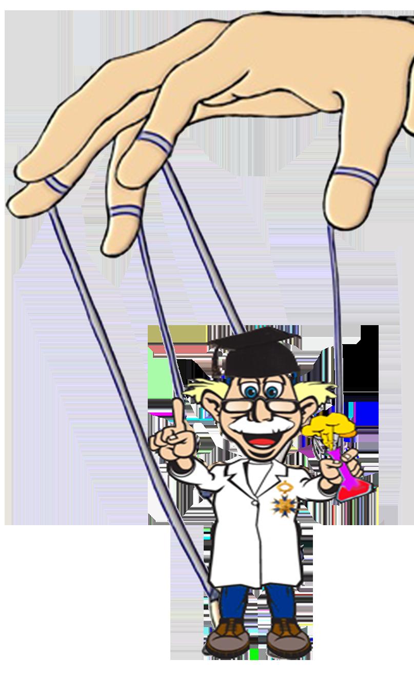 Prof. Hastig als Puppe