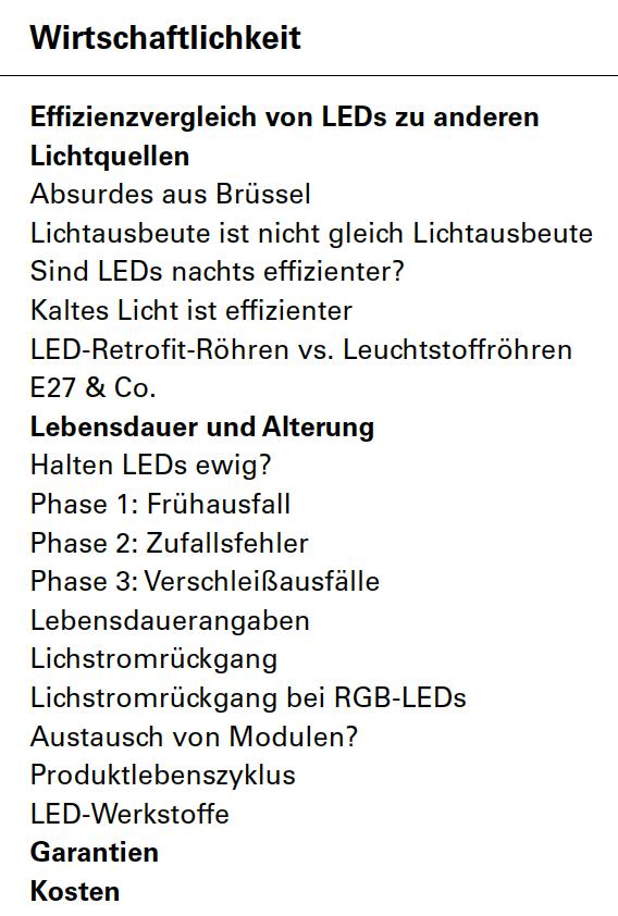 LED-Wirtschaftlichkeit